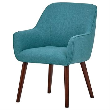 Modern Mid-Century Style Accent Dining Chair, Wood Legs, Aqua Blue Upholstery