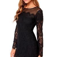 Black Long Sleeve Lace Mini Dress