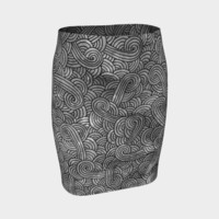 Grey and black swirls doodles Fitted Skirt Fitted Skirt