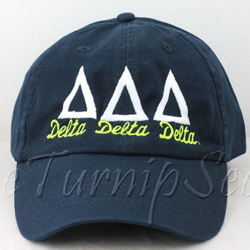 Delta Delta Delta Sorority Baseball Cap - Custom Color Hat and Embroidery.