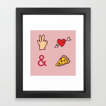 Peace, Love, Pizza Framed Art Print by Anonymous