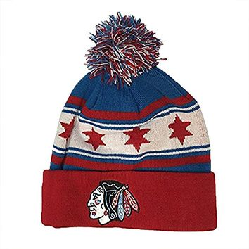 Chicago Blackhawks Zephyr Finish Line Chicago Flag Winter Knit Hat