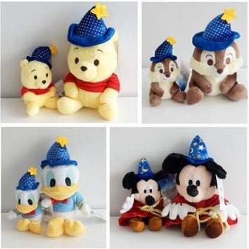 Cute Magician Wizard Mickey Mouse Stitch Donald Duck Winnie Bear Chip 'n' Dale Squirrel Plush toy Soft Stuffed Animals Doll Gift