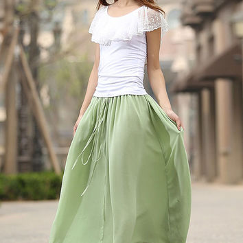 light green skirt  woman chiffon skirt custom made Maxi skirt elastic waist summer skirt (941)