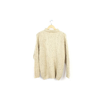 J.Crew wool cable knit sweater / cream ivory white / irish fisherman sweater / classic rustic oversized lodge ski sweater /  medium - large