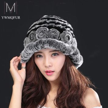 free shipping 2016 Women Winter Hats Beanies Knitted Cap Crochet Hat 100% Rabbit Fur Pompons Ear Protect Casual Caps Hot Sales