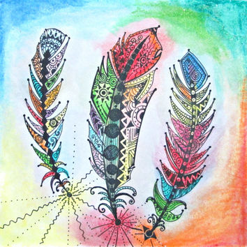 Feather Print Feather Wall Art From Earthchildart On Etsy
