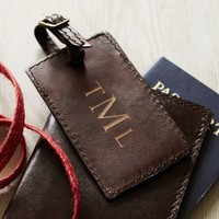 SADDLE LEATHER LUGGAGE TAG, COGNAC