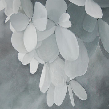 White Hydrangea Painting - Original Large Acrylic Monochromatic Black and White Wall Art