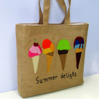 Summer Jute Tote bag with ice creams, handmade,artistic,eco friendly, beach bag, sporty chic