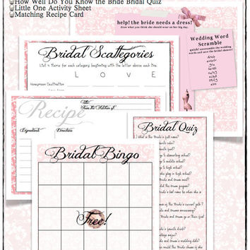 Pink Bridal Shower Games Collection -DIY Printables - Includes Bingo, Scattegories, Bridal Quiz and an Activity Sheet for Little Guests