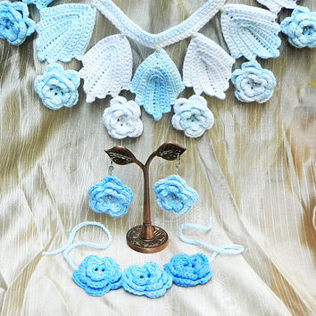 Blue Roses crochet bridal jewelry set collar necklace earrings bracelet ooak eco-friendly pure cotton jewelry READY TO SHIP