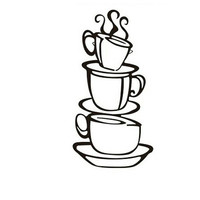 Stacked Coffee Cups Vinyl Decal