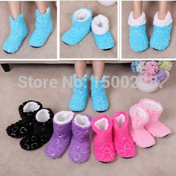 Free Shipping Sequins Love Coral velvet Indoor Floor Slippers Women Home Shoes, Sequin Heart Home Soft Sole House Slippers