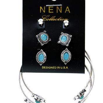 Silver Antiqued Finished Bracelet and Earrings Sets - 3 Colors