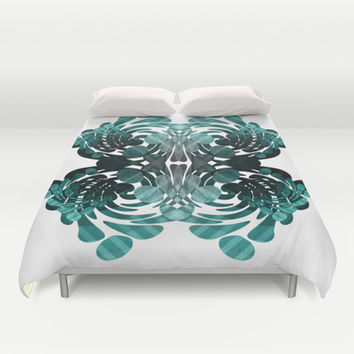 Abstract black and teal  Duvet Cover by VanessaGF