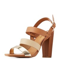 Bamboo Strappy Colorblock Slingback Sandals