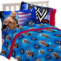 3pc WWE Wrestling Twin Bed Sheet Set The Rock Wrestle Mania Bedding
