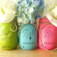 Home Decor, Rustic - Style Painted Mason Jars | Three, Hand Painted Mason Jars -- Bright Pink, Blue and Green