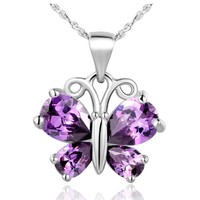 White Gold Plated Butterfly Gorgeous Purple Pendant Crystal Necklace