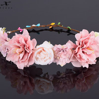 CXADDITIONS Rose Carnations Peony Flower Halo Bridal Floral Crown Hair Band Wreath Mint Head Wreath Wedding Headpiece Bridesmaid