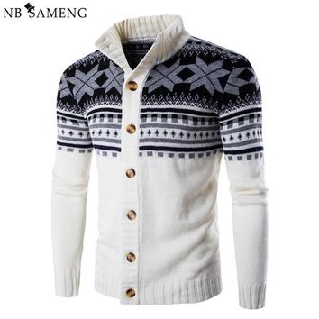 2017 Autumn Winter Male Sweater Snowflake Cardigan Coat Mens Casual Brand High Quality Clothing Knitted Sweaters Jumper Knitwear