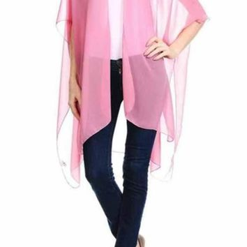 Summer Breeze Solid Kimono in Peach