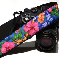 dSLR Camera Strap. Floral Camera Strap with Butterflies.Multicolor Camera Strap. Floral Camera Strap. Spring Camera Strap. Women accessories