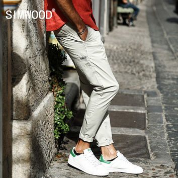Spring Summer Casual Thin Pants Men Pockets Ankle-Length Cotton Trousers Slim Fit Clothing Plus size