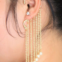 SBY0931 Fashion Tatto Punk Personality Hanging Single Pearl Tassel Ear Cuff Earrings Jewelry