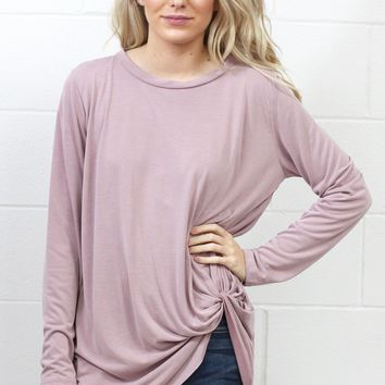 Long Sleeve Get Twisted Modal Top {Mauve}