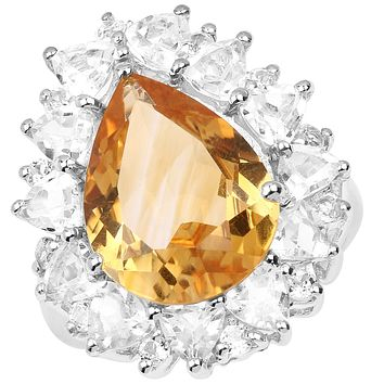 A Natural 13.2TCW Pear Cut Yellow Citrine & White Topaz Halo Ring