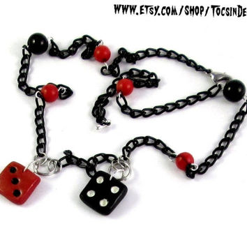 DICES LUCKY 7 NECKLACE  pin up retro  rockabilly  psychobilly