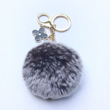 Pom-Perfect Chocolate frosted REX Rabbit fur pom pom ball with black flower keychain