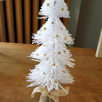 White and Gold Christmas Tree Upcycled Vintage Holidays