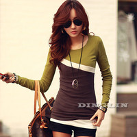 Autumn Fall T Shirt Women Ladies Long Sleeve Contrast Slim Fitted Women T-Shirt Top Clothing Free Shipping