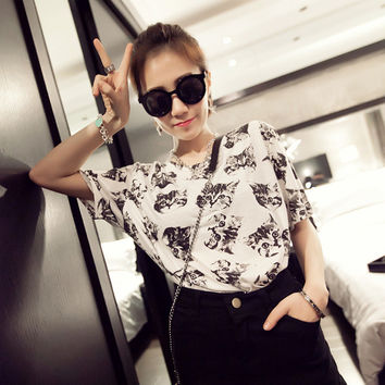 Summer 2016 cat print clothes T-shirts for women tee shirt femme camisetas poleras de mujer tshirt female t shirts female tops