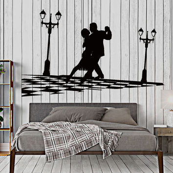 Wall Vinyl Decal Couple Dance Dancing Romantic Room Waltz Home Decor Unique Gift z4407