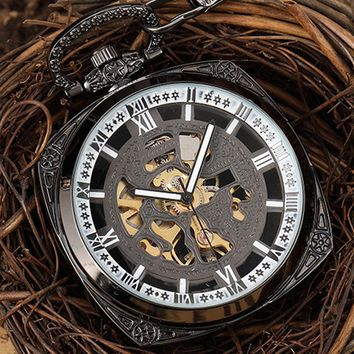 Steampunk Carved Black Mechanical Pocket Watch Men Vintage Skeleton Square Roman Numerals Necklace Hand Watch Men Women Pendant
