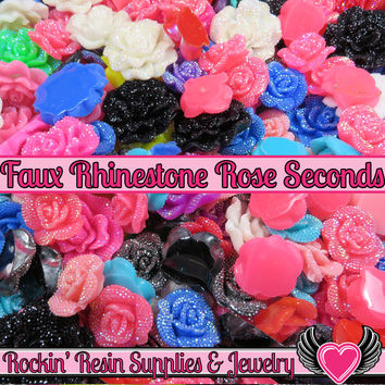 Seconds 6 pcs FAUX RHINESTONE ROSES Flatback Resin Flower Cabochons