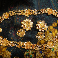 Vintage Sonia Rykiel rare golden flower charm art statement necklace and dangling earring set. Gorgeous runway masterpiece jewelry.