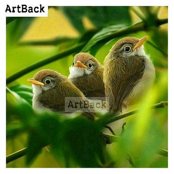 5D Diamond Painting Three Birds in the Trees Kit