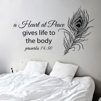 Proverbs Wall Decals A Heart At Peace Gives Life To The Body Psalm Verses Quote Home Interior Design Vinyl Decal Sticker Bedroom Decor kk817