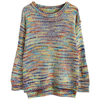 Round Neck Multicolor Knitted Sweater Pullover