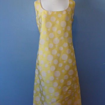 Vintage 60's Polka Dot Dress Spring Mod 1960's Sleeveless Dress Summer Scoop Neck Fitted Yellow White Bright Sunny Colorful Fun Pockets