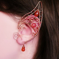 Autumn vine - elf ears, no piercing ear cuff, elven ear cuffs, copper jewelry, wire wrappped ear cuffs