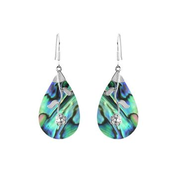 AE-1047-AB Sterling Silver Teardrop Shape Earring With Abalone Shell
