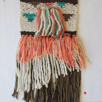 Forest Ablaze - Handwoven Wall Art - Amanda J French Woven Tapestry with Fringe - Handspun and Hand-Dyed Yarn - Wall Hanging