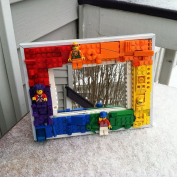 Handmade rainbow Lego mosaic mirror  with mini figures