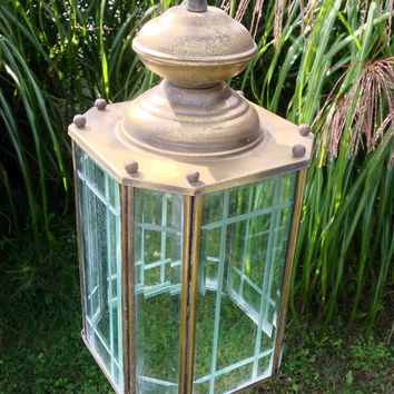 Hanging Lantern Chandelier Brass & Glass Mission Style pendant swag Light Vintage outdoor lighting Porch Ceiling Light Patio Light Fixture